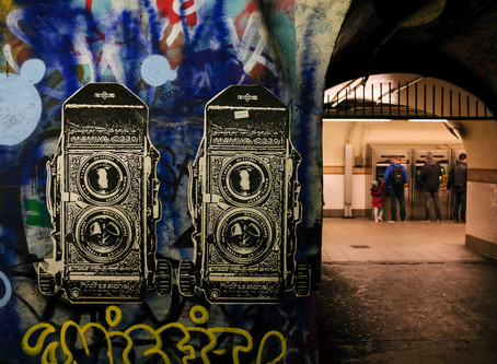 Camera art in subway tunnel