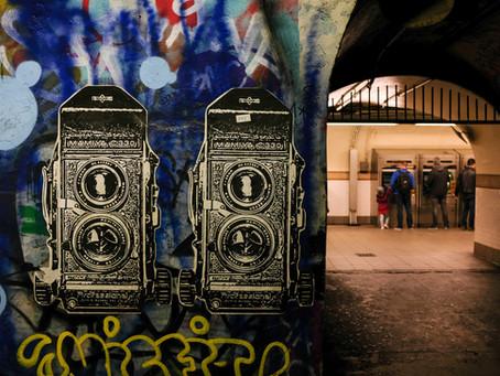 Camera art in subway tunnel