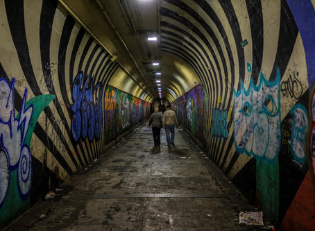 Walking in the subway tunnel