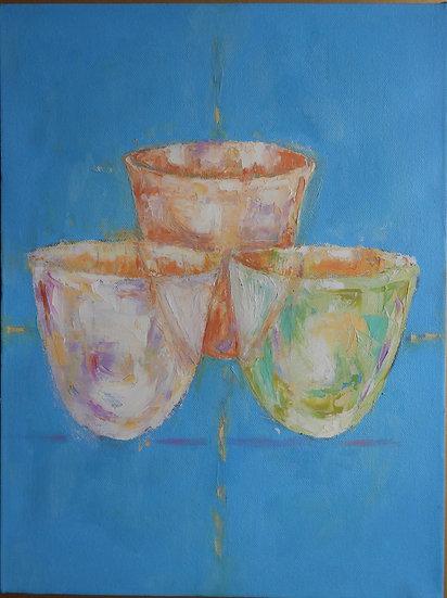 3 Multi-coloured bowls