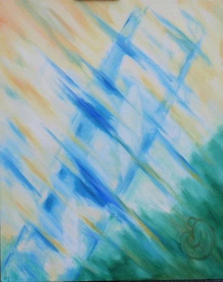 blue sideways ladder