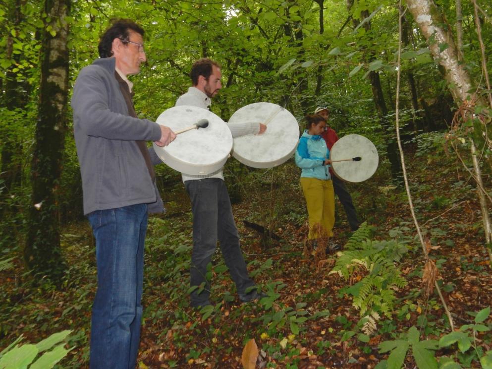 Initiation aux tambours dans la forêt