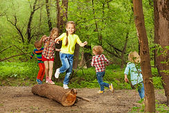 Cute little kids playing on a log in the