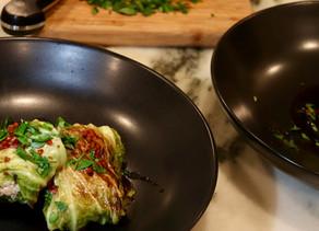 Napa Cabbage Stuffed with Organic Turkey Serrano Chili Sesame Dipping Sauce ~ Paleo