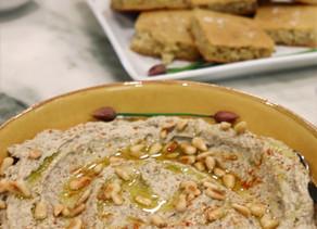 Red Lentil Green Garlic Hummus  Toasted Pine Nuts~ Vegan