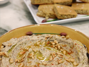 Red Lentil Green Garlic Hummus  Toasted Pine Nuts~ Vegan