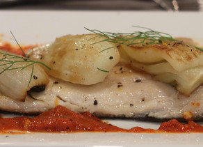 Pan Seared Trout Caramelized Fennel Roasted Red Pepper Couli