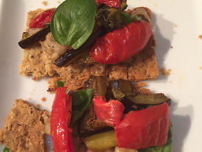 Hazelnut Tartine ~ Roasted Peppers Eggplant Basil