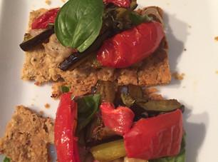 Hazelnut Tartine ~ Roasted Peppers Eggplant Basil