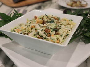Napa Cabbage Coleslaw Toasted Walnuts Golden Raisons