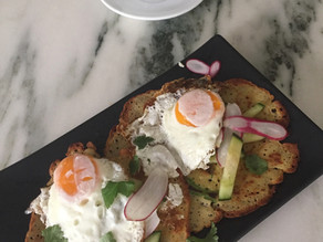 Garbanzo Socca Over Easy Eggs Cucumber &Radish ~ Grain-free