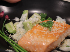 Salmon & Sesame Cucumbers ~  Green Garlic Yogurt