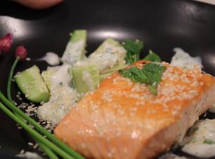 Salmon & Sesame Cucumbers ~  Green Garlic Yogurt
