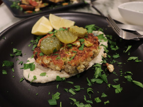 Tofu Vegetable Burgers~  Lemon Tahini Dressing