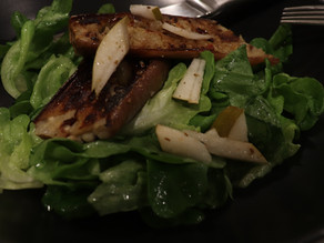 Grilled Japanese Eggplant Asian Pears over Market Greens