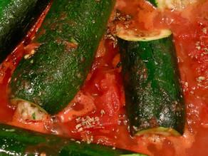 Zucchini Ripiene  Alla Romana Simmered in Tomato Sauce