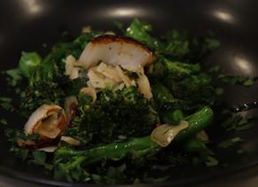 Warm Broccoli salad with Caramelized Onions and Garlic