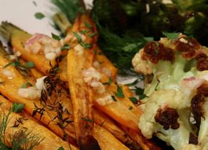 Roasted Cauliflower Carrots Broccoli Shallot Herbed Vinaigrette ~ Vegan