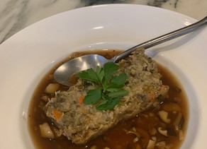 Mung Bean Loaf Porcini Broth