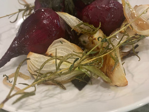 Roasted Beets Spring Onions  Rosemary Balsamic Glaze