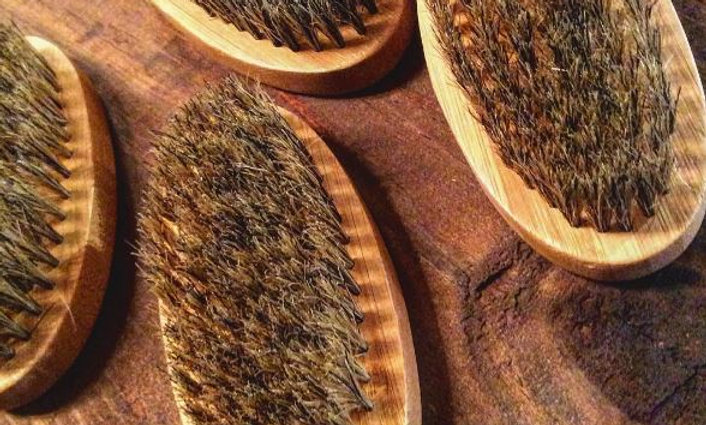 Soft Palm Boar Bristle Beard Brush