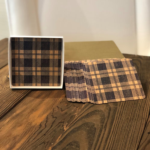 Wooden Plaid Coaster Set