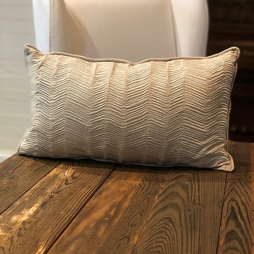 Beige Embroidered Lumbar Poly Pillow