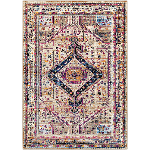 Colorful Area Rug Pattern with Fringe
