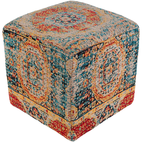 Colorful Textured Wood Frame Ottoman