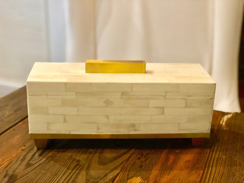 Bone Decorative Storage Box with Gold Accents