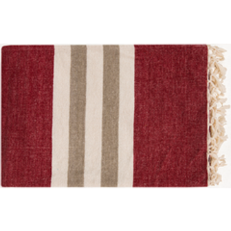 Red and Taupe Chenille Cotton Throw