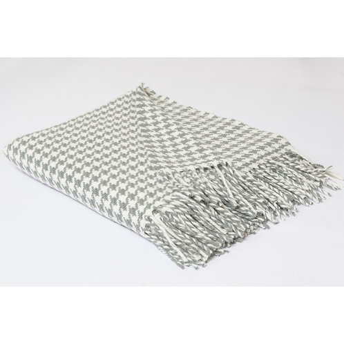 Irish Merino Wool Houndstooth Throw Blanket