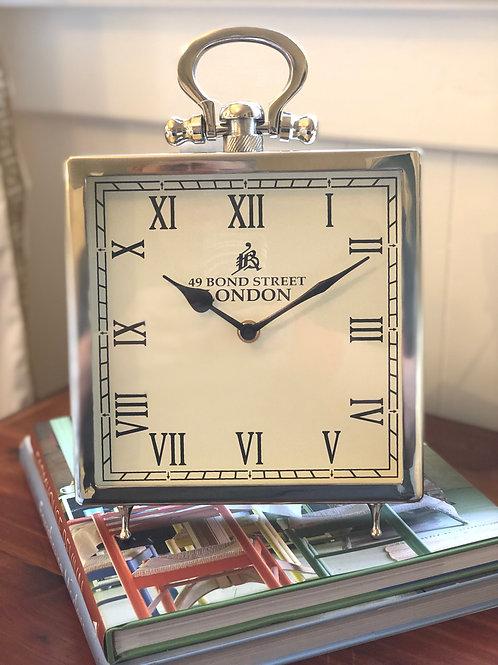 "Square 8"" x 8"" Roman Numeral Clock with Kickstand"