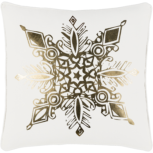 Gold Snowflake Pillow Cover