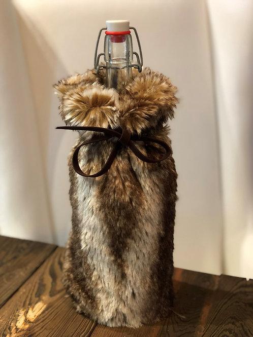 Faux Fur Wine Gift Bag