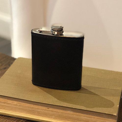 Black Saddle Leather Flask