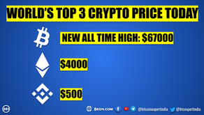 World's Top 3 Cryptocurrencies Price Today