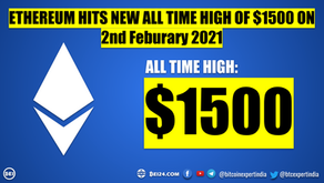 Ethereum made History - Hits $1500 for the First Time Ever