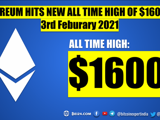 Ether made History - Hits $1600 for the First Time Ever