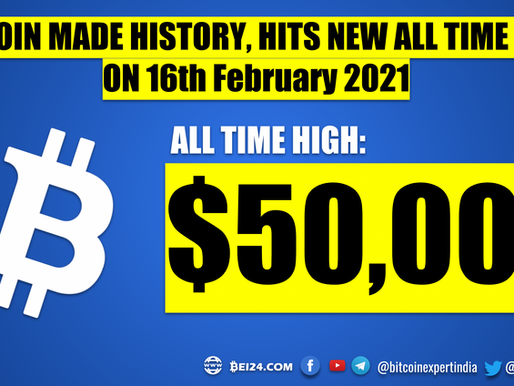 Bitcoin made History - Hits $50,000 for the First Time Ever