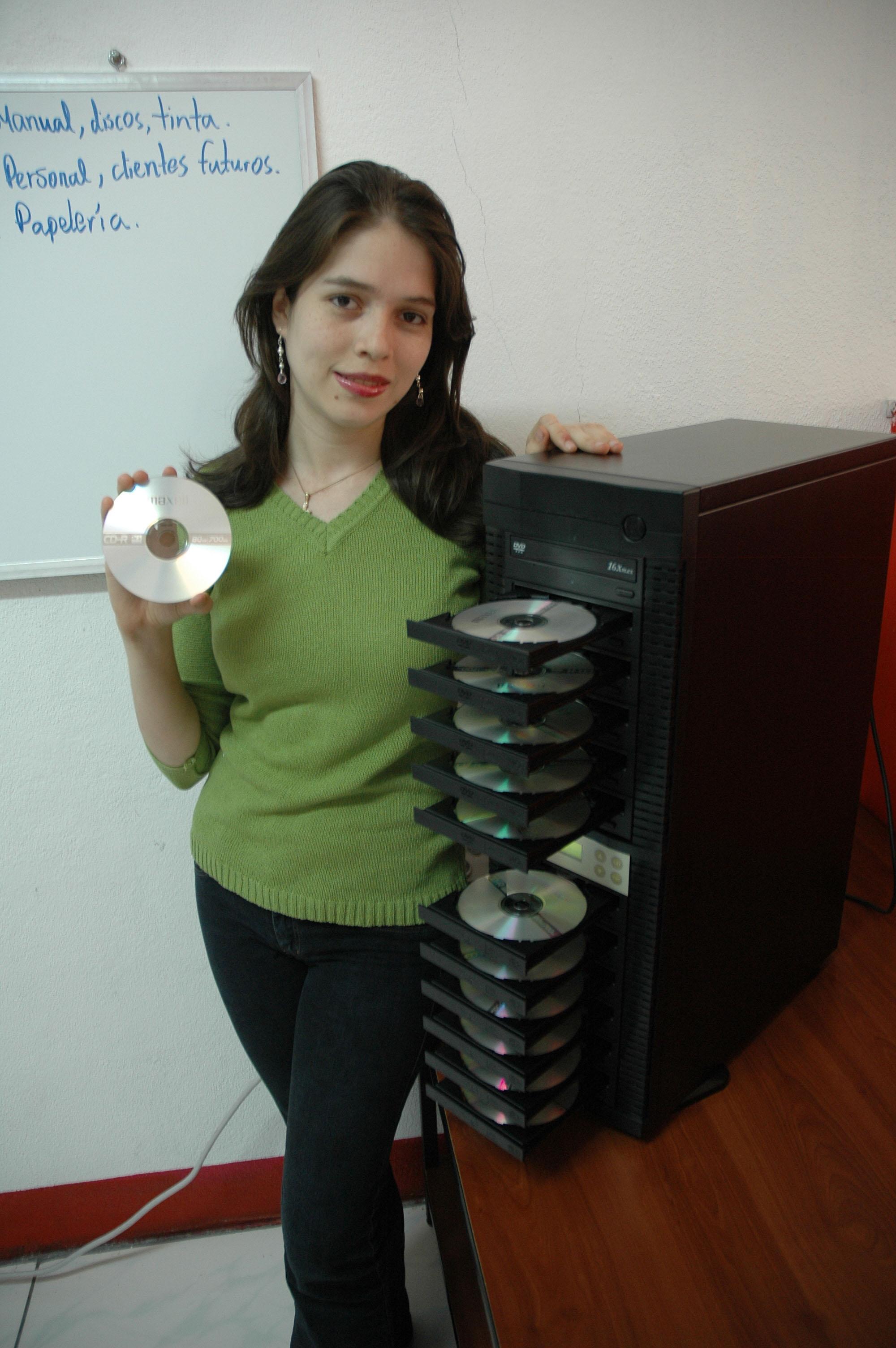 Con la torre de discos