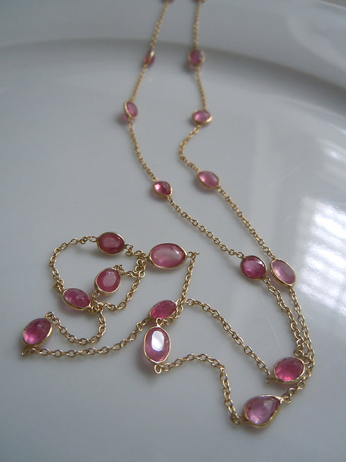 Delicate Pink Tourmaline Gold Vermeil Necklace