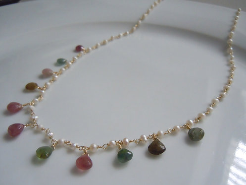 Faceted Tourmaline with Seed Pearls
