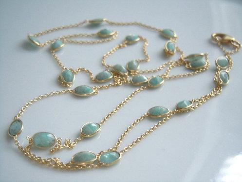 Faceted Amazonite Bezel-set Long Necklace