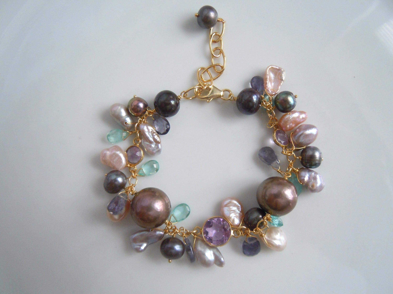 cultured Pearls & Gemstone Bracelet