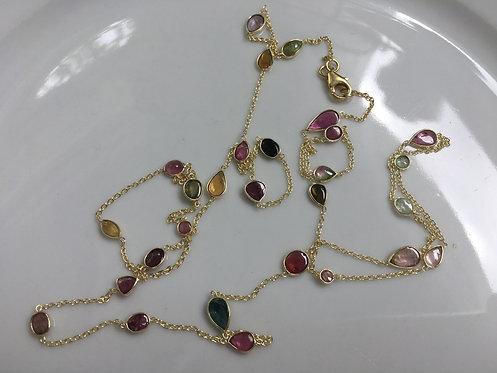 Tourmaline Cabichon Long Necklace