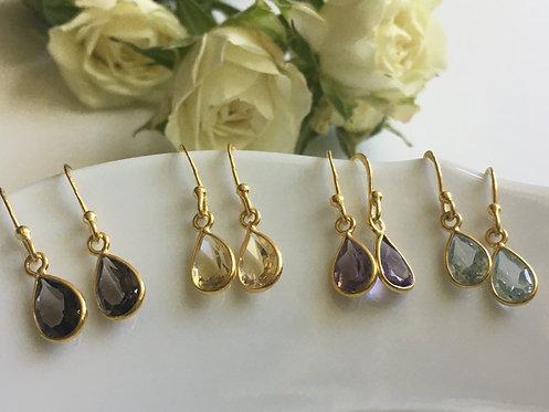 Teardrop Faceted Gemstone Earrings