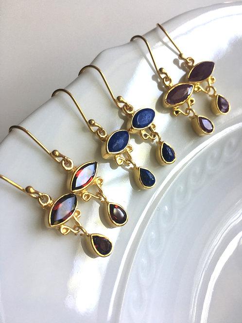 Gemstone Fancy Bezel Set Earrings