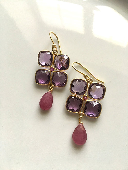 Faceted Amethyst and Pink Tourmaline Earrings