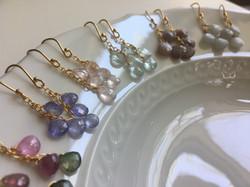 Gemstone Teardrop Cluster Earrings